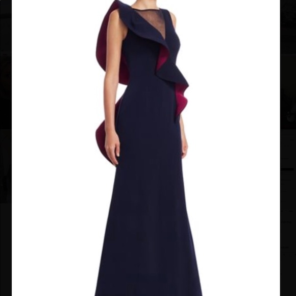 Saks Fifth Avenue Dresses Navy Twotoned Gown Nero By Jatin Varna